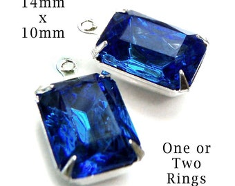 Sapphire blue glass beads, 14x10 rhinestone octagons for pendants, glass connectors and earrings, 2 pc