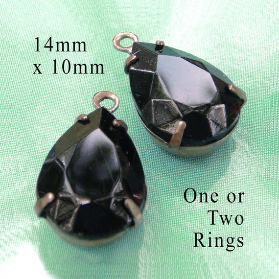 black vintage glass 14x10 rhinestone teardrop pendants or earring jewels