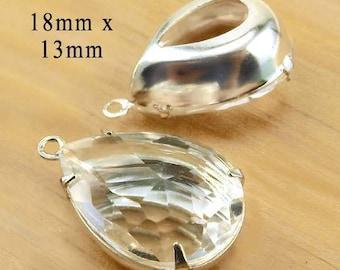 CLEARANCE - Clear crystal teardrops, 18x13mm pears for pendants or earrings, 2 pc