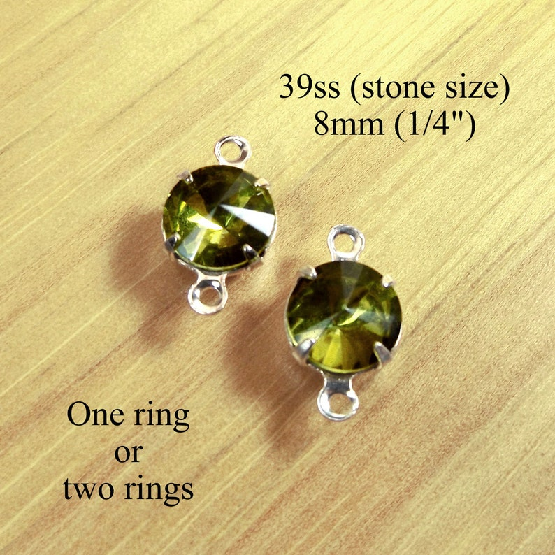 earrings or glass connectors 8mm round rhinestones for tiny pendants olive green gems with rivoli faceting Olivine green glass beads