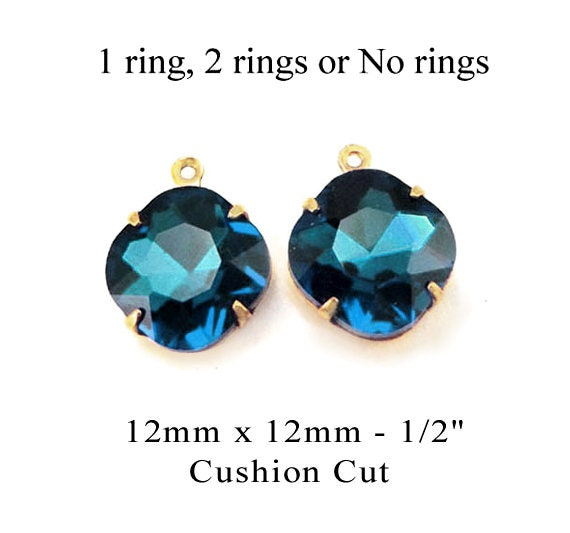 blue zircon or teal blue glass cushion cut octagon beads