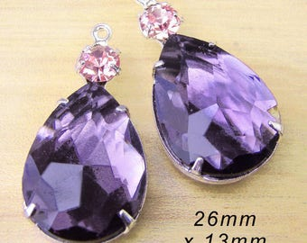 Sheer amethyst purple glass beads - rhinstone teardrop earrings or pendants with tiny rhinestones - you choose the color - 26mm x 13mm