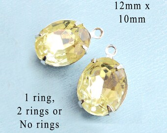 Jonquil Yellow Glass Beads - 12x10 Oval - Rhinestone Earrings or Pendants - 12mm x 10mm - Oval - Glass Gems or Charms - One Pair