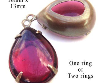 Fuschia pink vintage glass beads - 18x13 Rhinestone Teardrops - Sheer 18mm x 13mm pendant or earring jewels - One Pair