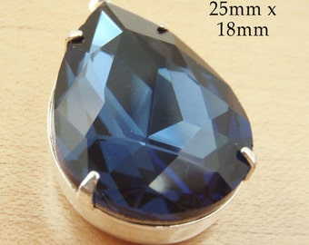 Navy blue glass pendant, montana sapphire 25x18 rhinestone pear or teardrop, navy glass gem