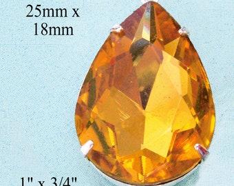 Golden topaz crystal pendant - 25x18mm rhinestone pear or teardrop shaped pendant - golden to amber shade topaz