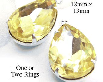 Jonquil Yellow Glass Beads - 18x13 Teardrop - Rhinestone Earrings or Pendants - 18mm x 13mm - Glass Gems - Jewelry Supply - One Pair