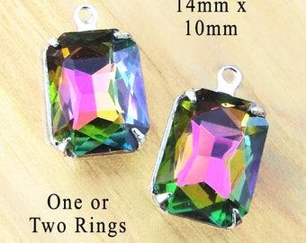 Vitrail rainbow glass gems, 14x10mm rhinestone octagons for pendants or earrings, 2 pc