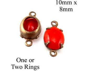 Cherry red vintage glass beads - 10x8mm oval glass cabochons for tiny pendants, glass connectors or earrings