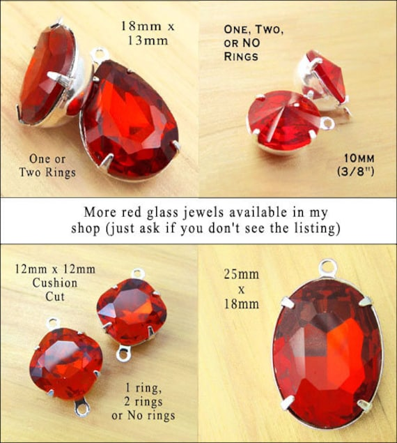 rhinestone beads and jewels for pendants and earrings - shown here are red glass gems