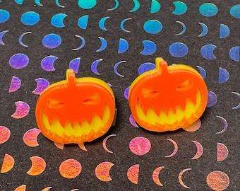 Pumpkin/Jack O Lantern/ Stud Earrings/Jewelry/Acrylic/Halloween/Gift for Her/Gift for Him