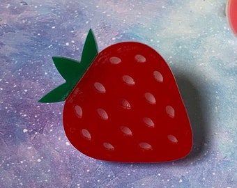 Kawaii/Strawberry/Red/Acrylic/Pin/Gift for her/Gift for him
