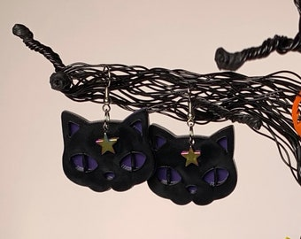 Cat/Black Cat/Magic/Earrings/Dangle/Dangle Earrings/Jewelry/Gifts for her/Cat lover gifts