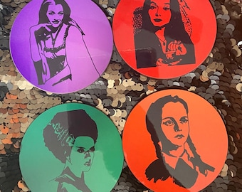 Spooky Gals Coaster Set/Monsters/Drinkware/Drinks/Halloween/Gift For Her/Goft For Him/Weddjng Gift