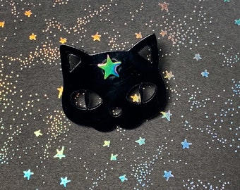 Magic Black Cat Brooch/Acrylic/Pin/Gift for her/Gift for him/Laser Cut Jewlery