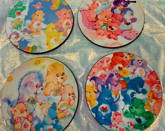 Care Bears Coaster Set of 4/ Drinkware/Barware/Drinks/Gift for her/get for him/gift for them/holiday gift