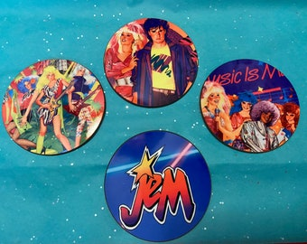 Jem and the Holograms coaster set of 4/Drink ware/Home/Gift/80s/Gift for her/gift for him/gift for them