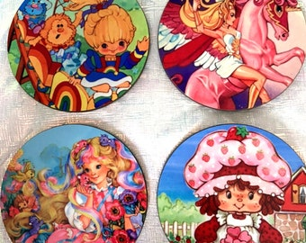 80's Dolls Cartoon Coaster Set of 4/Colorful/Drinkware/Gift For Her/Gift For Him/Gift For Them/Rainbow/Drinks