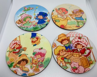 Strawberry Shortcake Set Of Four Drink Coasters/gift for him/gift for her/retro/80's/beverage/home decor
