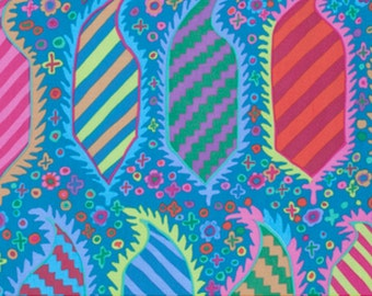 1 yard Kaffe Fassett Fabric / STRIPED HERALD in TURQUOISE/ PWGP153 / Westminster Fabric / Cotton, Quilt Craft and Apparel fabric