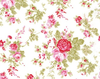 Tanya Whelan Fabric / Delilah Collection /  AMELIE in WHITE - 1 Yard Cotton Quilt Fabric