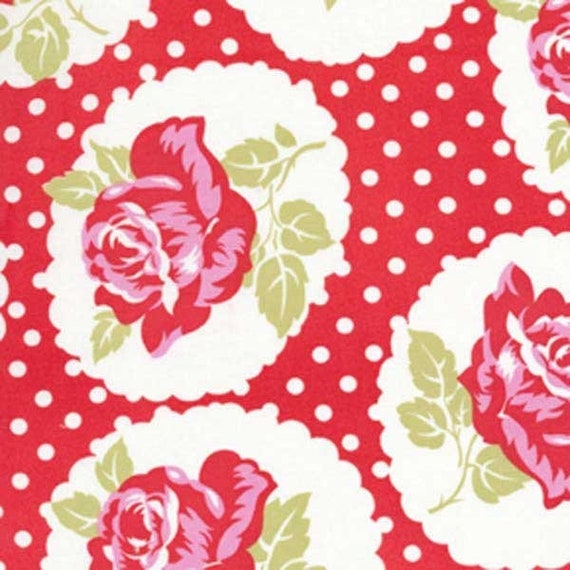 LULU ROSES-LOTTI-RED//PINK FREE SPIRIT PATCHWORK FABRIC