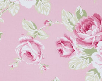 SALE!  Full Bloom Rose Roses in Pink Sunshine Rose by Tanya Whelan Fabric  - 1 Yard Cotton Quilt Fashion Fabric  DISCONTINUED!  Out of Print