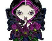 Black Orchid Fairy Collectible Enamel Pin by Jasmine Becket-Griffith Art flower faery dark orchids flowers