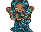 Turquoise Lightning Collectible Enamel Pin by Jasmine Becket-Griffith Art butterfly faery dark blue orange pink