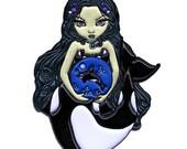 Orca Magic Collectible Enamel Pin by Jasmine Becket-Griffith Art killer whale mermaid faery fairy