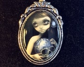 Blue Willow Skull Cameo N...