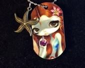 The Little Mermaid Dogtag Charm Necklace from Jasmine Becket-Griffith Art fairytale ocean princess