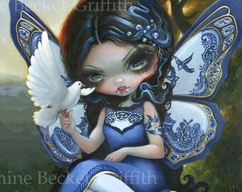 Blue Willow Fairy XL art print by Jasmine Becket-Griffith 12x16 BIG white bird dove ceramic porcelain