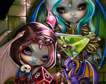 Dice Dragonlings fairy art print by Jasmine Becket-Griffith 8x10 d20 d4 D&D faming fairies
