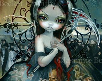 Unseelie Court: Death fairy art print by Jasmine Becket-Griffith12x16 BIG grip reaper skeletons skulls dying angel