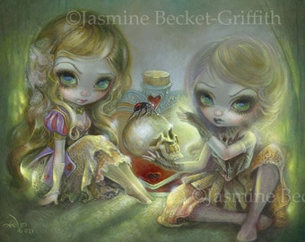 Arsenic and Old Lace art print by Jasmine Becket-Griffith 12x16 BIG poison witches murder skeleton skull magic black widow spider