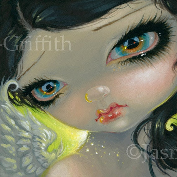 Fairy Face 189 Jasmine Becket-Griffith Fantasy Goth Peacock  SIGNED 6x6 PRINT
