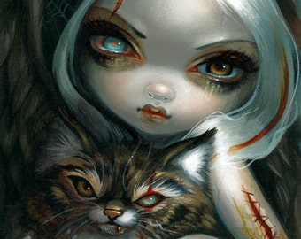 Zombie Kitty dark fairy art print by Jasmine Becket-Griffith 8x10 angel cat zombies vampire undead