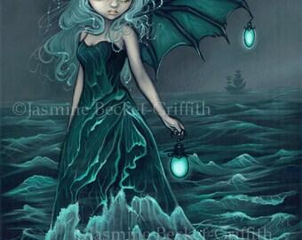Sea Beacon mermaid lighthouse fairy art print by Jasmine Becket-Griffith 8x10