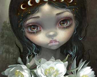 Queen of the Night Blooms art print by Jasmine Becket-Griffith 8x10 flower orchid cactus night blooming cereus moon phases goddess