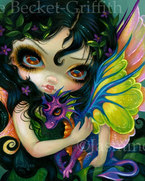 Fairy Face 88 Jasmine Becket-Griffith SIGNED 6x6 PRINT baby purple dragon faery
