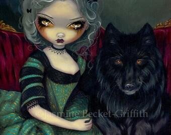 Loup-Garou: Noir rococo werewwolf fairy art print by Jasmine Becket-Griffith12x16 BIG