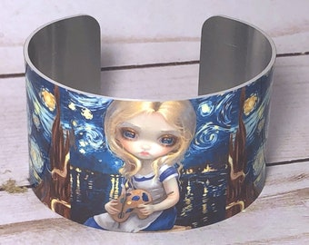 Alice in the Starry Night metal cuff bracelet from Jasmine Becket-Griffith art wonderland van gogh