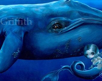 "Big Blue Whale art print by Jasmine Becket-Griffith 10.75""x7.25""  mermaid fairy ocean sea marine"