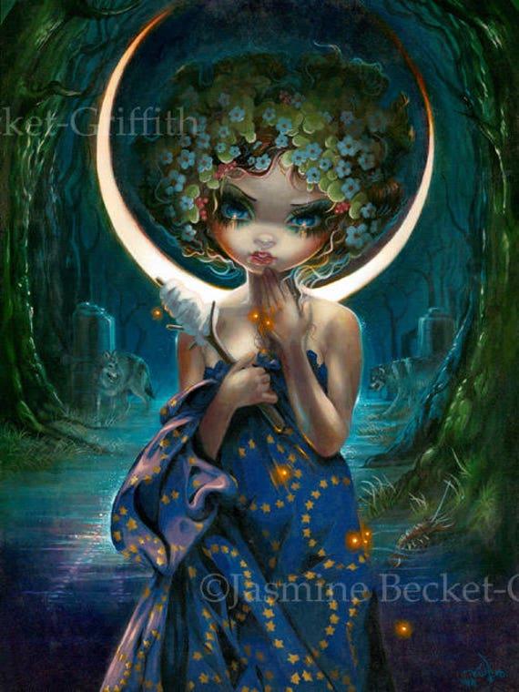 Jasmine Becket-Griffith art BIG print SIGNED Dragonfly Mermaid lilypad pond pop