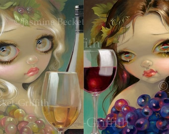 Spirits of the Vine: Chardonnay and Merlot Set of TWO 8x10 art prints by Jasmine Becket-Griffith SIGNED wine fairies