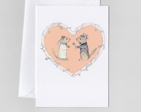 Chipmunk Wedding Card and Envelope