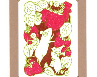 Strawberry Mice Gocco Mini Screenprint