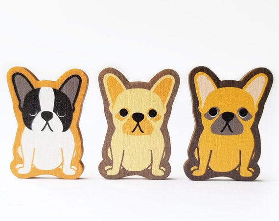 French Bulldog Wooden Brooch Pin