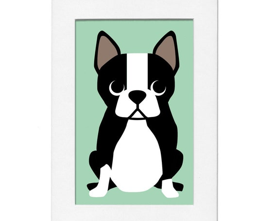 Boston Terrier 5 by 7 Print with Matte